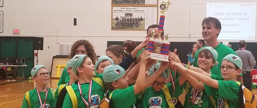 Adams Space Squirtles Celebrating Championship Award in December